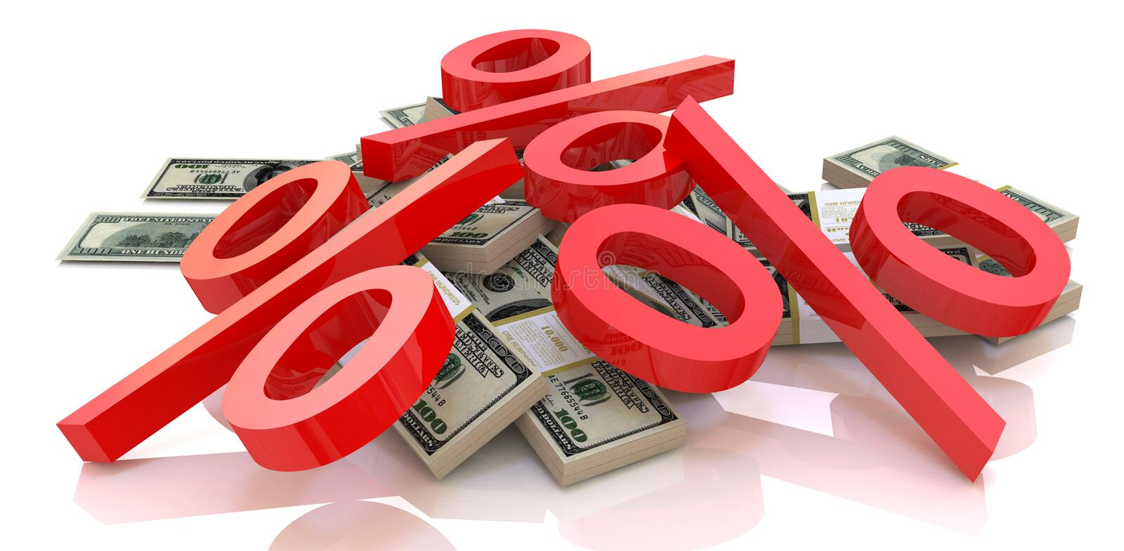Percentage and money royalty free stock photos