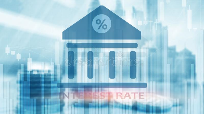 Interest rate on abstract finance background. Finance, capital banking and investment concept royalty free stock photo