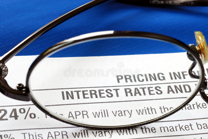 Download Interest Rate In A Credit Card Disclosure Stock Image - Image: 19886675