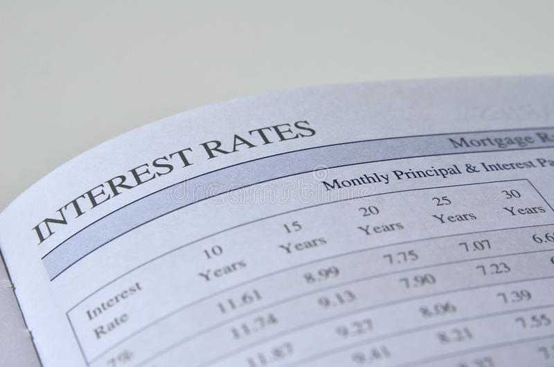 Interest rate. S. Mortgage rates. Monthly principal and interest payments chart for 10, 20, 30 years. Concept image stock photos