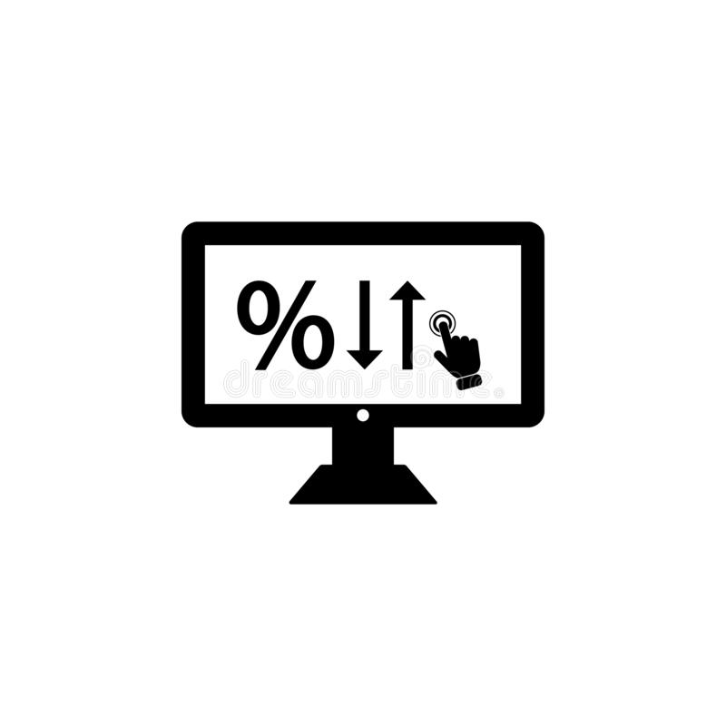 Interest Rates on touch screen icon. Element of touch screen technology icon. Premium quality graphic design icon. Signs and symbo. Ls collection icon for vector illustration