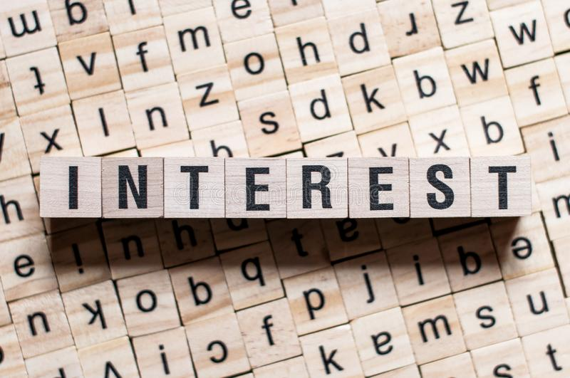 INTEREST word concept stock photos