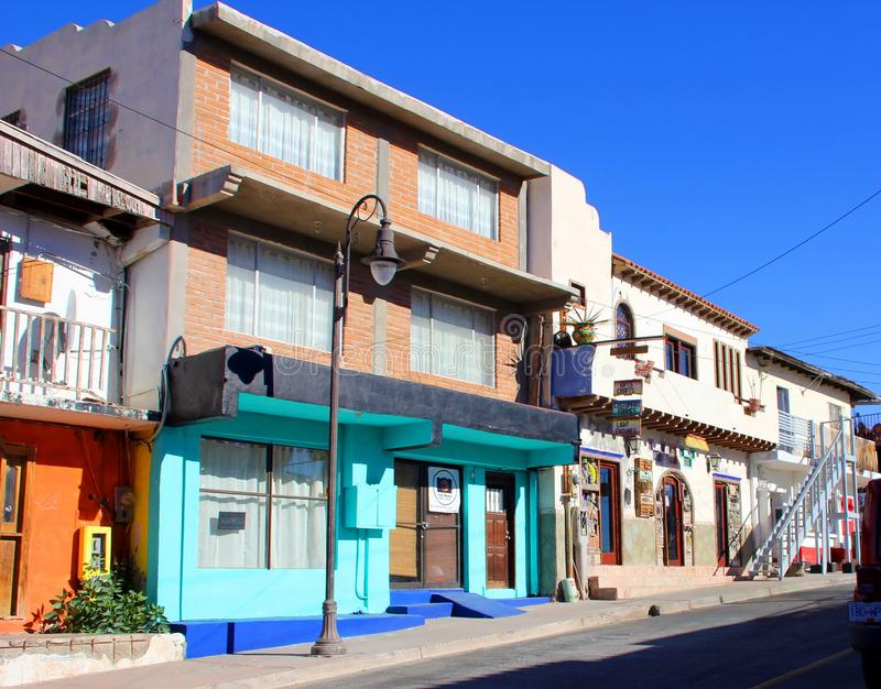 Interesting architecture of buildings in Puerto Penasco, Mexico stock photography