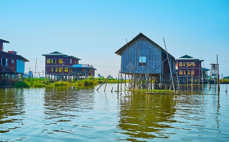 The interesting architecture of stilt village, Inle Lake, Myanmar. Inle Lake attracts tourist to explore beautiful fishing villages with stilt houses, local stock images