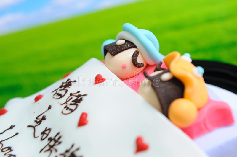 Interesting birthday cake. Happy couple on the birthday cake , grasslands and the blue sky background royalty free stock photography
