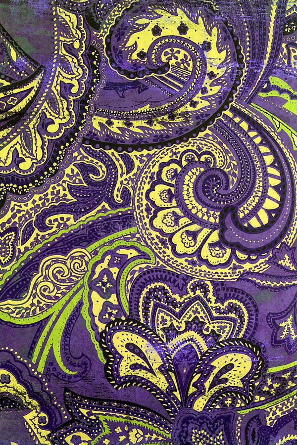 Interesting blue paisley patterned background. royalty free stock image