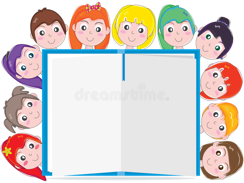 Interesting book_eps. Illustration of interesting book attract kids reading on white background. --- This .eps file info Version: Illustrator 8 EPS Document: 12