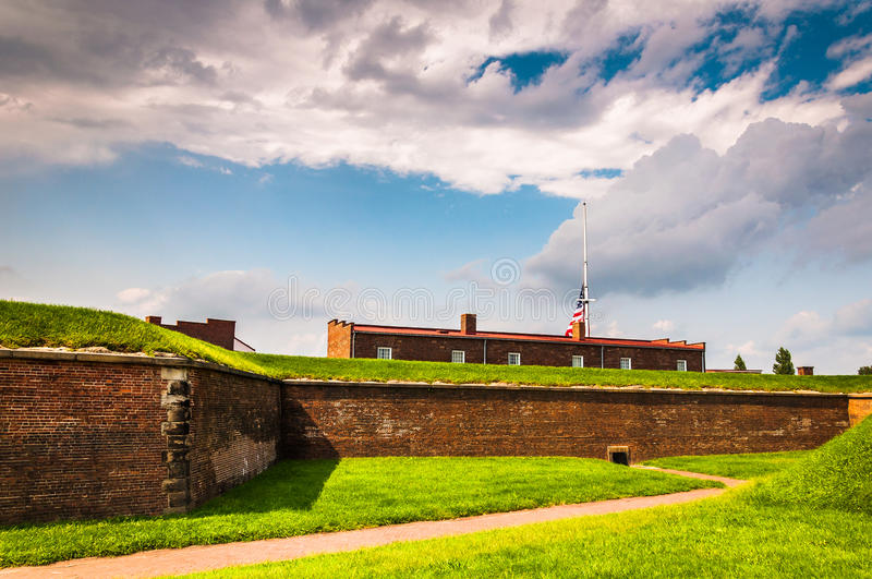 Interesting clouds over Fort McHenry, in Baltimore, Maryland. stock photo