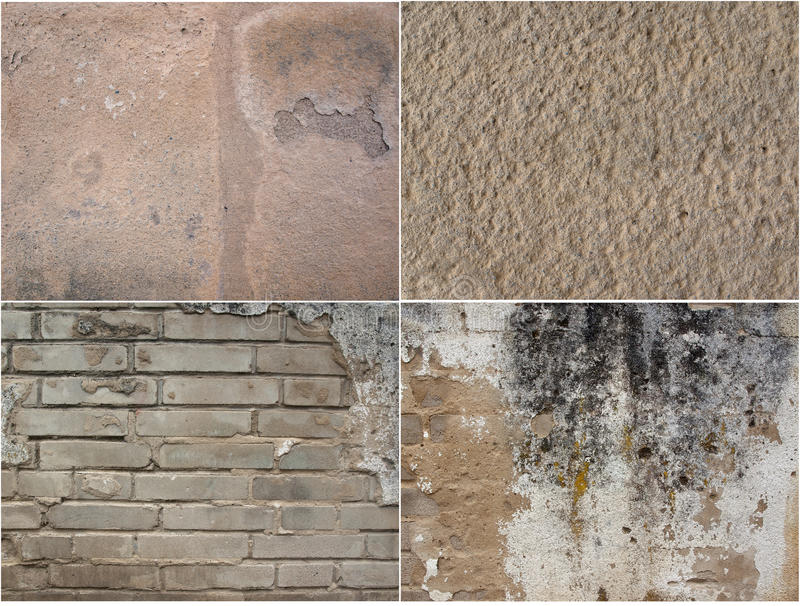 Interesting collage of four texture of old plasters stock photography