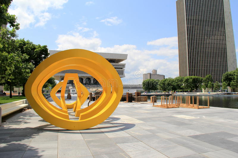 Interesting and colorful sculpture on stone walkway,Albany State Plaza,Albany,New York,2015. Interesting and colorful geometric sculpture along the stone walkway stock photography