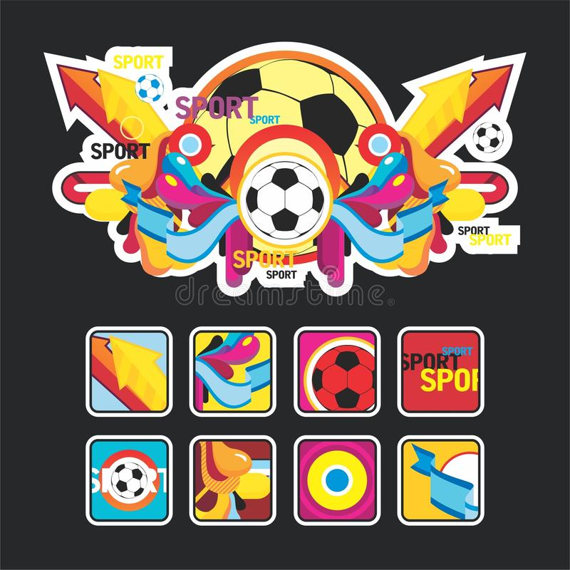 Interesting composition with sports balls and icon vector illustration