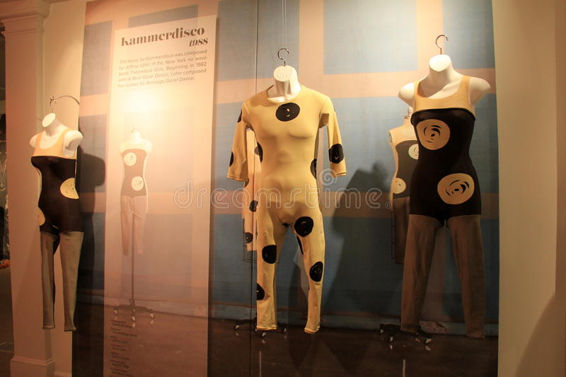 Interesting disco-type dancing costumes,National Museum Of Dance,Saratoga Springs,New York,2015. Interesting display of disco-type dancing costumes,National royalty free stock image