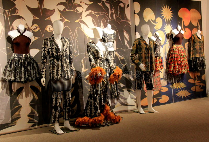 Interesting display in the history of dancing costumes, National Museum of Dance and Hall of Fame,Saratoga,New York,2015. Colorful and interesting display in royalty free stock image