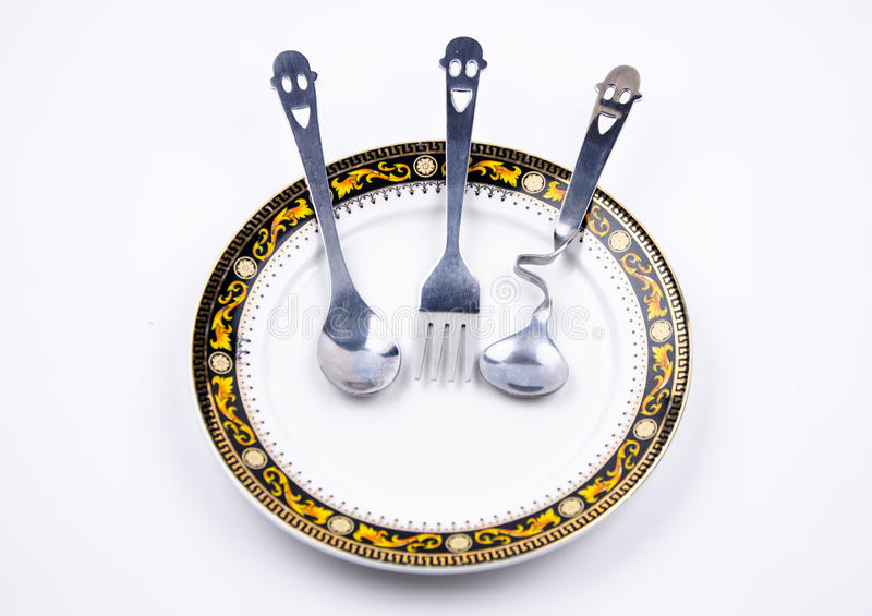 The interesting display of tableware.  stock photography
