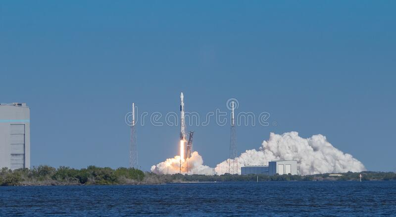 Interesting fiery scenery of a new rocket at the Air Force Station. An interesting fiery scenery of a new rocket at the Air Force Station royalty free stock photos