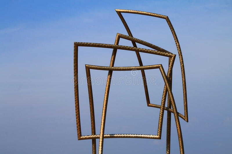 Interesting geometric monument. With blue sky royalty free stock photo