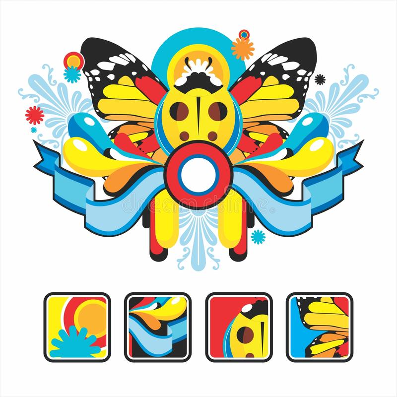 Interesting icons and composition with a ladybug royalty free illustration