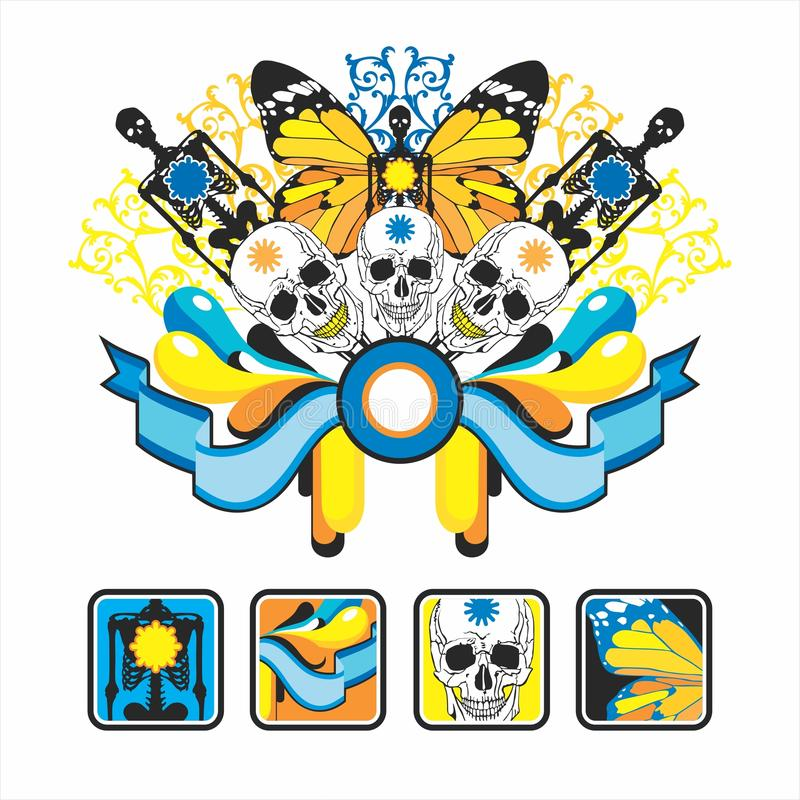 Interesting icons and composition with wings stock illustration