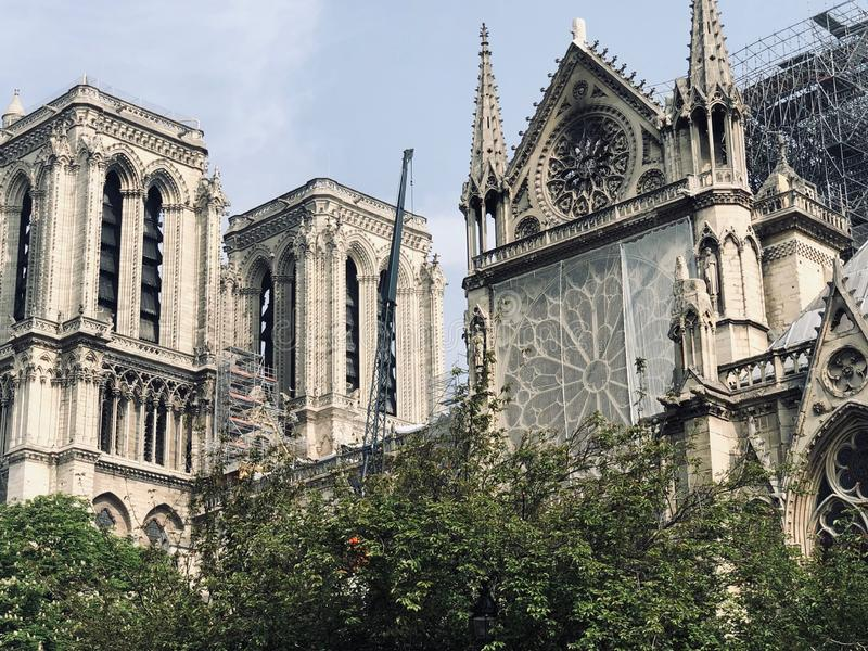 Notre Dame after the fire. View of Notre Dame from the Seine River in Paris, weeks after the fire stock photos