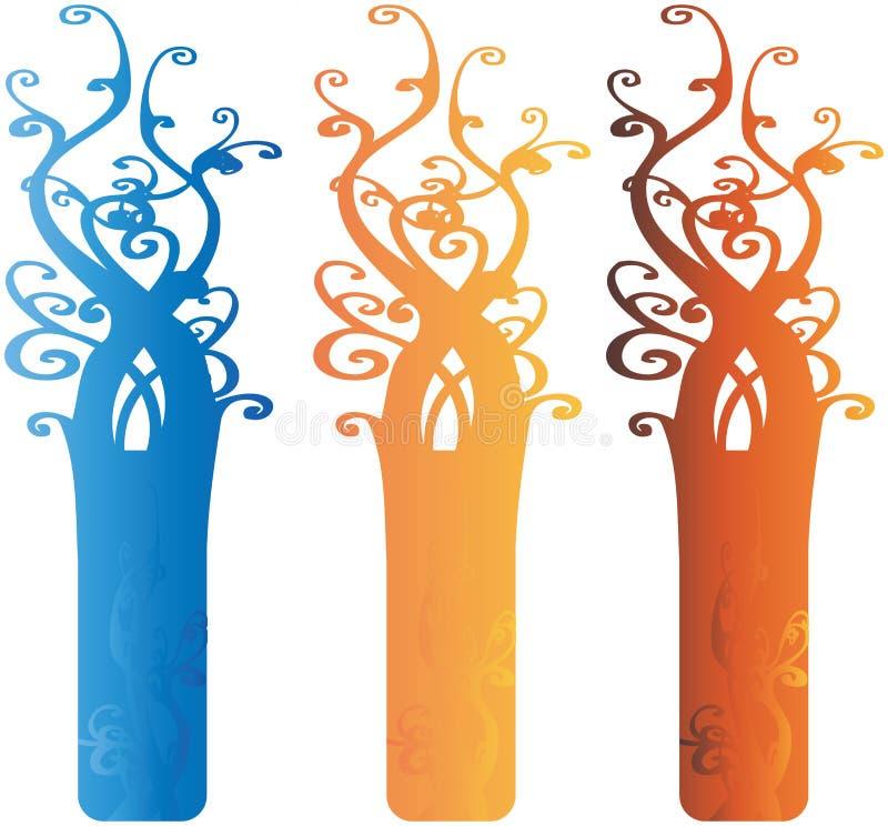 Interesting Ornate Tree Design Elements Illustrati Stock Image