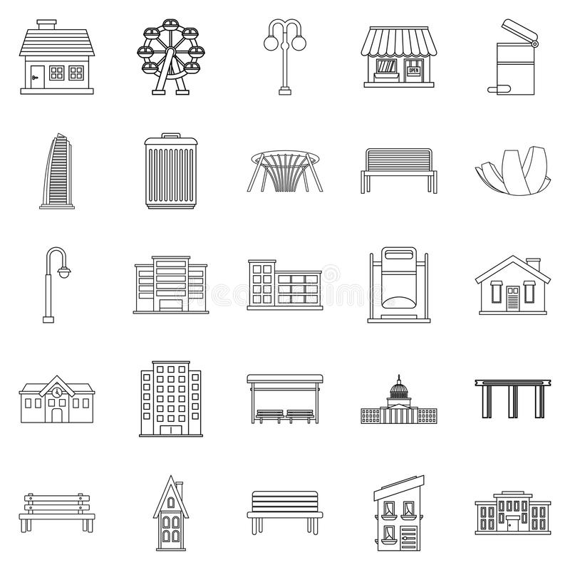 Interesting places icons set, outline style royalty free illustration