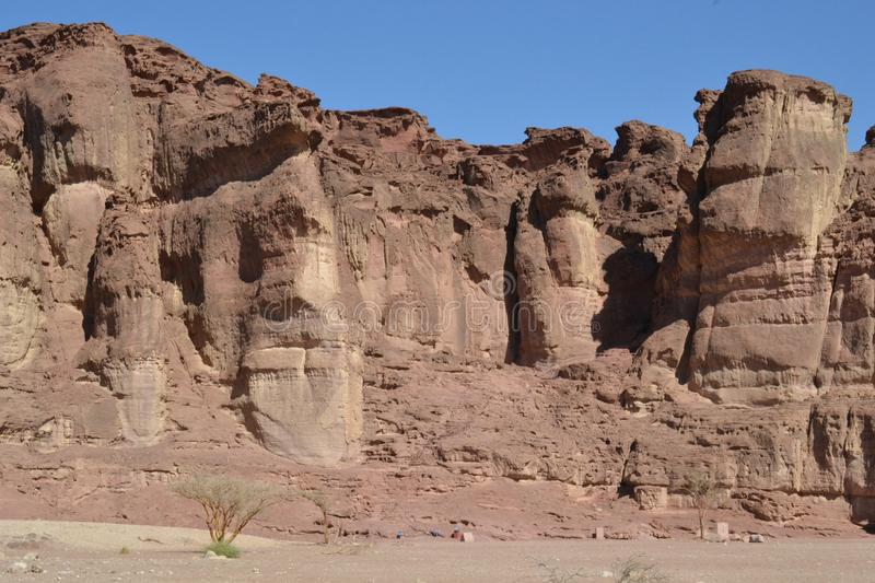 Interesting rock formations in Timna park, Negev desert, wilderness in South Israel, Eilat royalty free stock photography