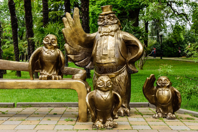 An Interesting sculpture at place des Arts in downtown Sochi. Sochi, Russia - MAY 1: an Interesting sculpture at place des Arts in downtown Sochi in MAY 1, 2015 royalty free stock photos