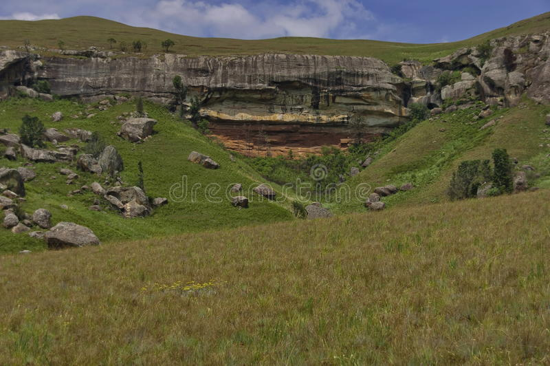 Interesting sedimentary rock in Giants Castle. KwaZulu-Natal nature reserve, Drakensberg South Africa stock photo