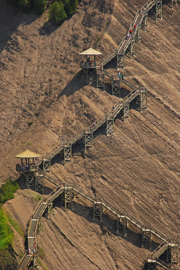Interesting Stairs Structure at Montmorency Falls. Interesting Stairs Structure at the stony slope at Montmorency Falls Canada stock images