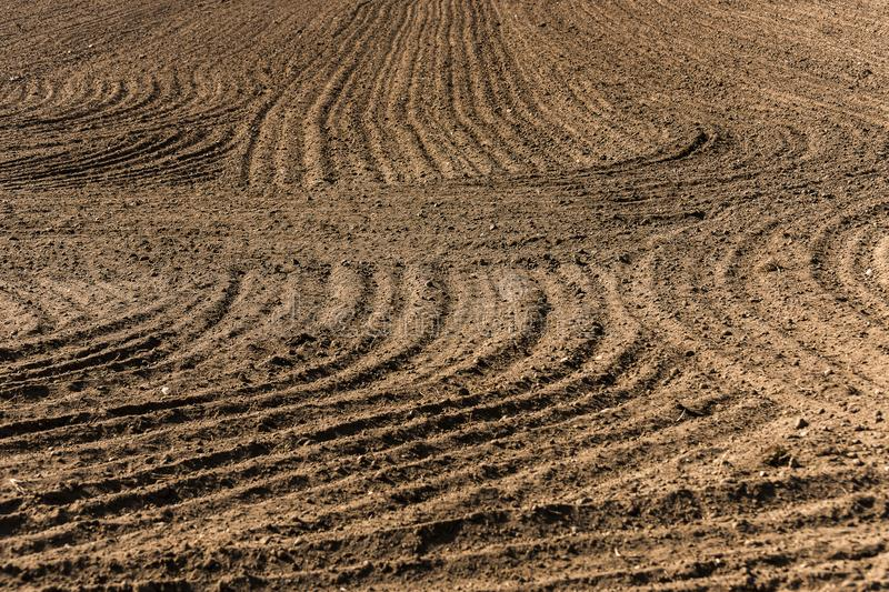 An interesting structure of the furrow in the scorched field. In the spring royalty free stock photography