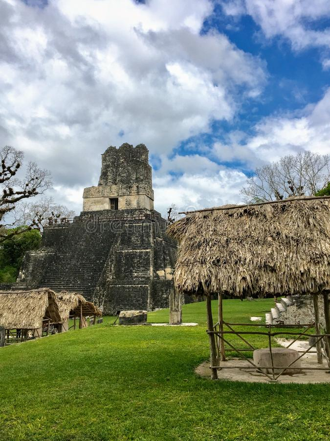 An interesting and unique view of an incredible temple in Tikal. Tikal Temple II is a Mesoamerican pyramid. At the Maya archaeological site of Tikal in the Pet royalty free stock photography