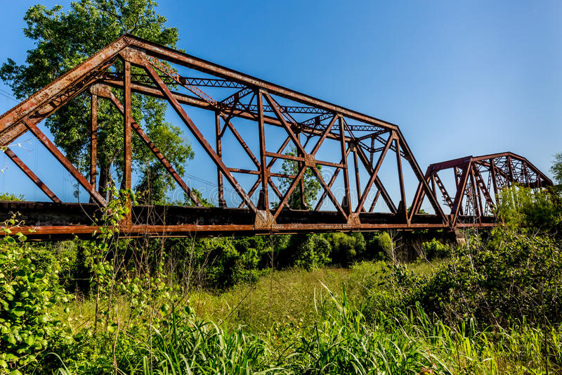 An Interesting View of an Old Iconic Iron Truss Railroad Bridge. Over the Brazos River, Texas stock photos