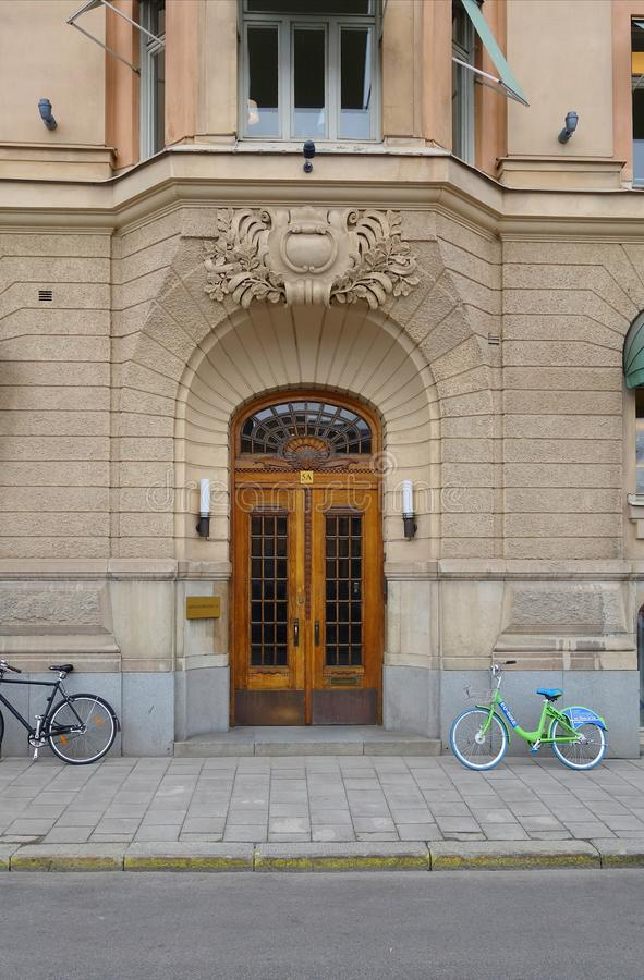 An interesting walk in the center of Stockholm stock photography