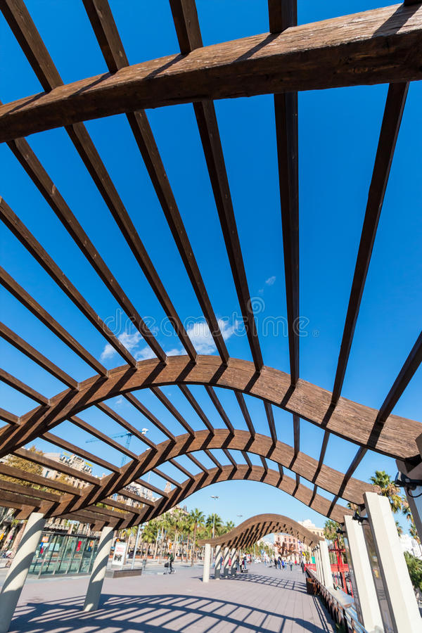 Interesting wooden structure on the harbor. Barcelona,Spain,interesting wooden structure on the harbor royalty free stock image