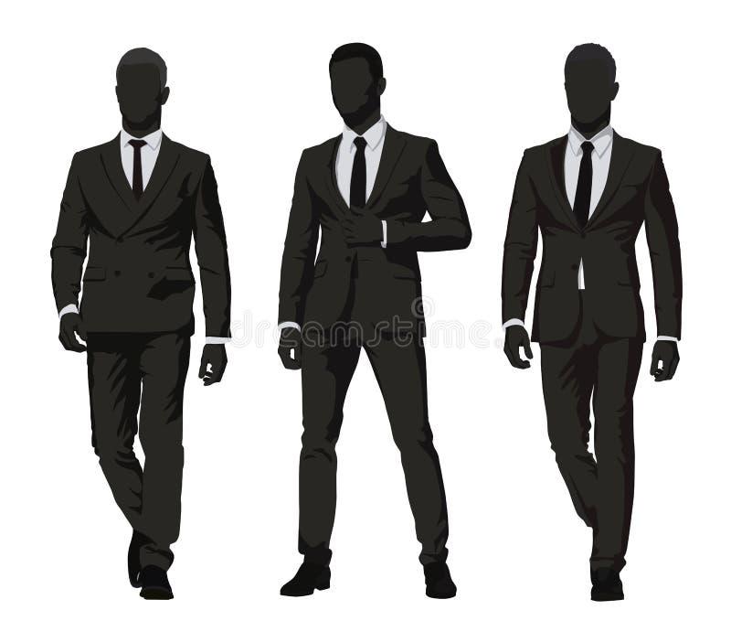interesy ilustracyjni ludzie jpg położenie Trzy mężczyzny w ciemnych kostiumach ilustracja wektor