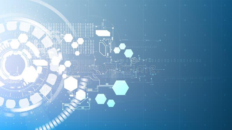 Interfa digital abstracto tecnológico del modelo del circuito del elemento libre illustration