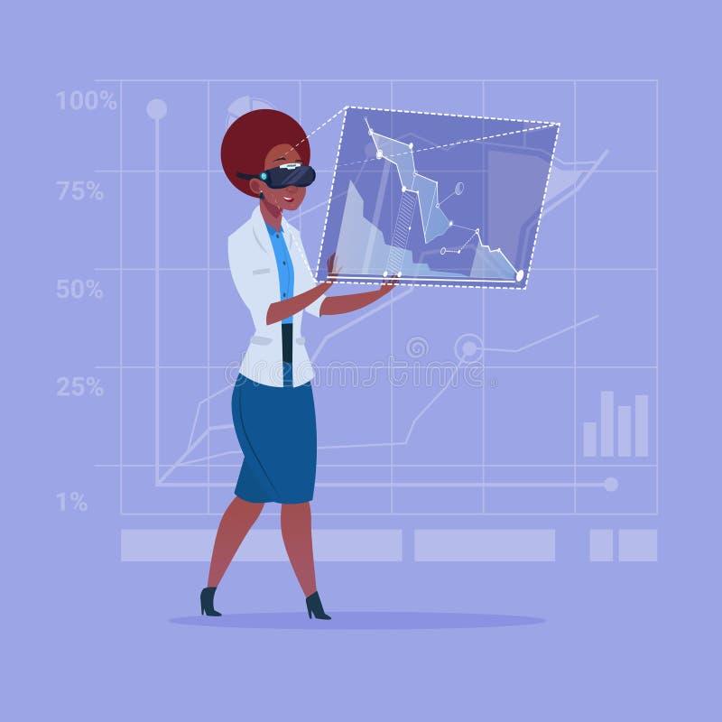 Interfaccia afroamericana del touch screen di vetro di Digital di realtà virtuale di usura di donna di affari illustrazione vettoriale