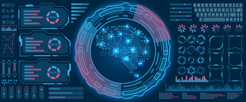 Interfaccia astratta di Hud UI, fondo futuristico di tecnologia dello schermo virtuale ciao royalty illustrazione gratis