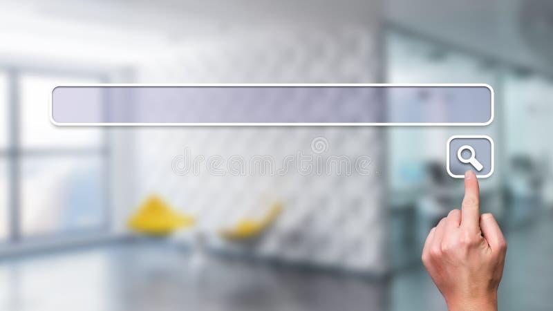 Interfaccia commovente della barra di ricerca della mano immagini stock