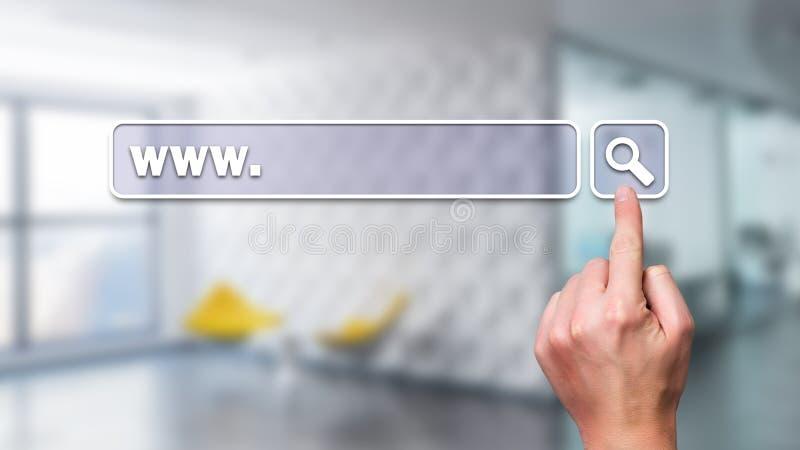Interfaccia commovente della barra di ricerca della mano fotografie stock