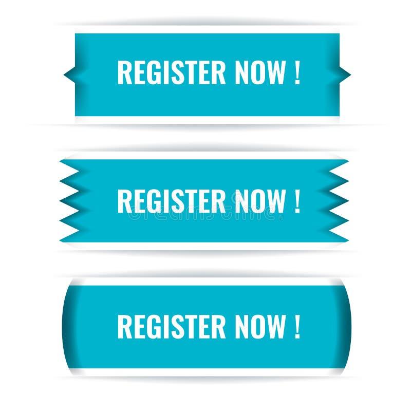 Interfaccia d'avanguardia di web di vettore o bottoni di app Registro ora illustrazione vettoriale