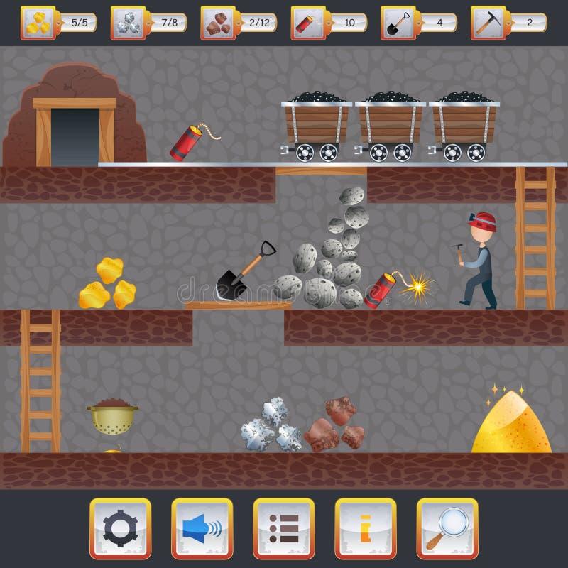 Interfaccia del gioco di estrazione mineraria illustrazione vettoriale