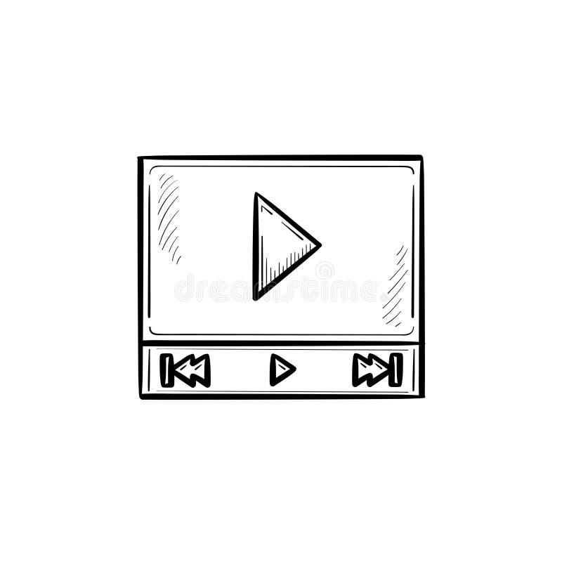 Interfaccia del riproduttore video con l'icona disegnata a mano di scarabocchio del profilo del tasto di riproduzione illustrazione di stock