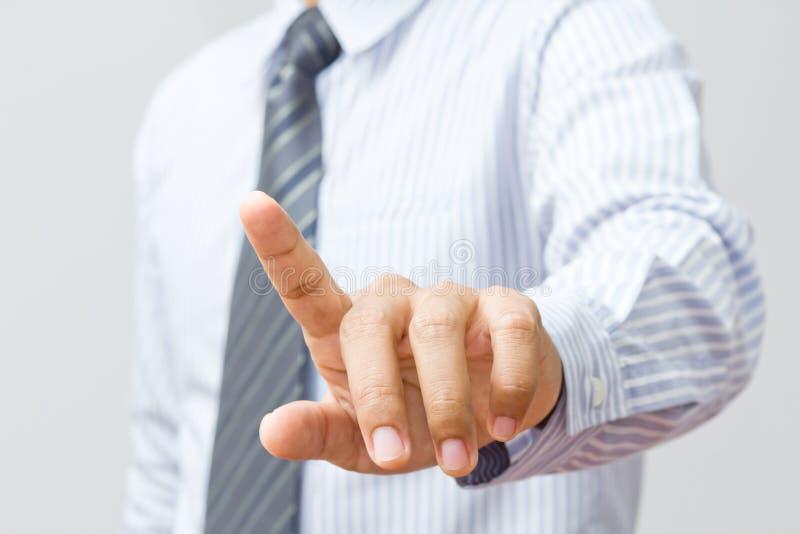 Interfaccia del touch screen della mano di affari immagini stock libere da diritti