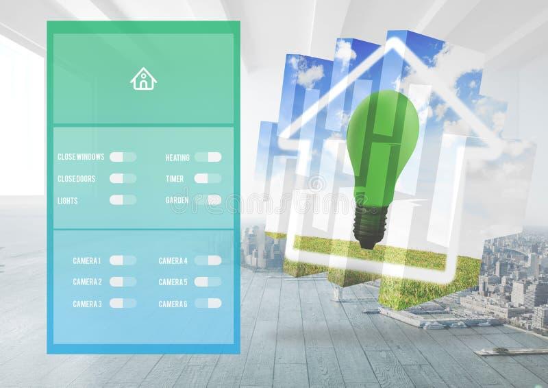 Interfaccia di App del sistema di automazione domestica illustrazione di stock