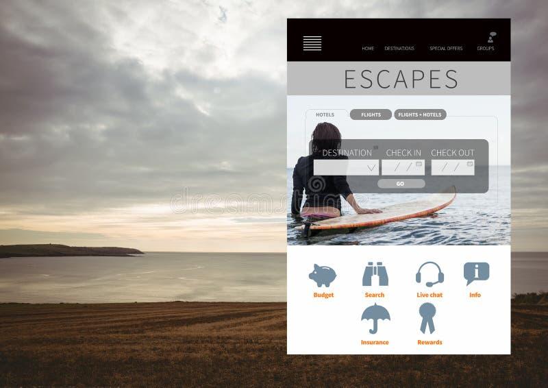 Interfaccia di App dell'ozio di fughe con il mare immagine stock libera da diritti