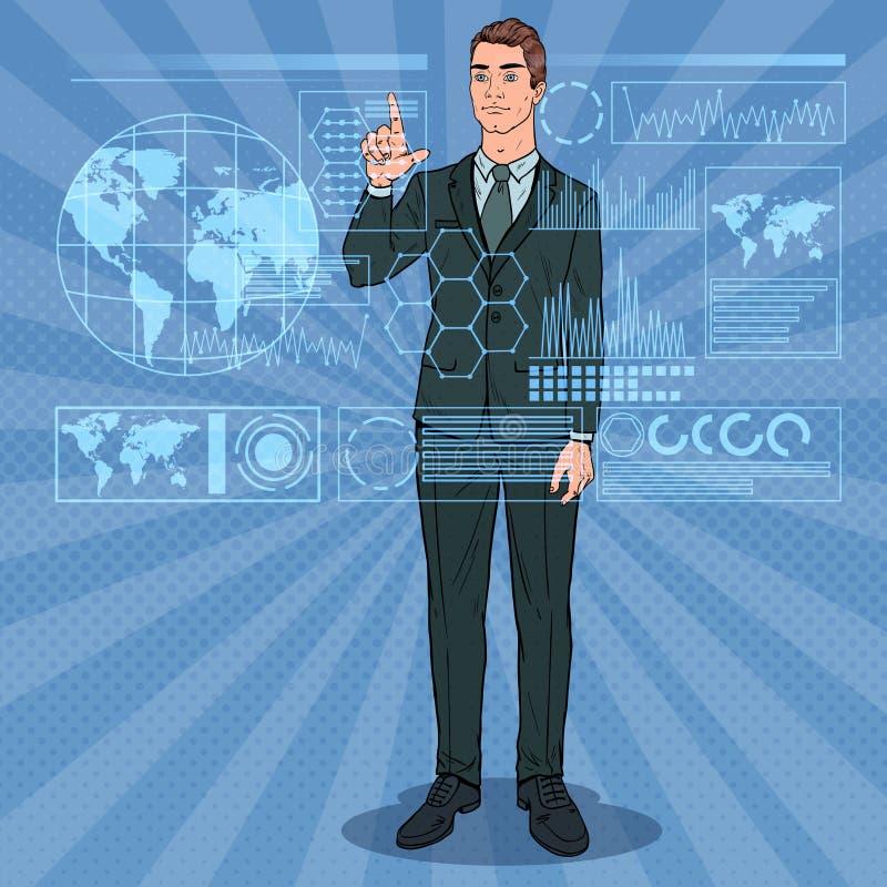 Interfaccia di Art Businessman Using Virtual Holographic di schiocco Schermo attivabile al tatto futuristico di tecnologia illustrazione vettoriale