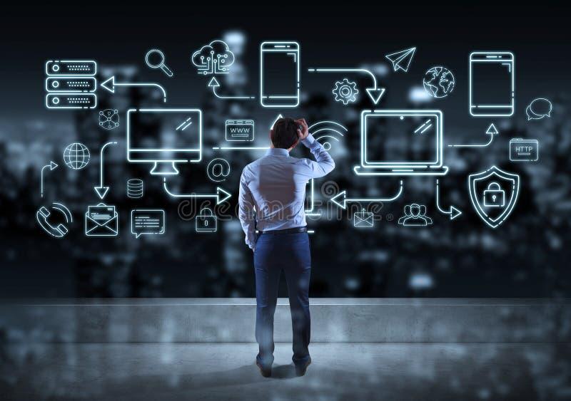 Interfaccia di linea di sorveglianza dei dispositivi e delle icone di tecnologia dell'uomo d'affari leggermente illustrazione vettoriale