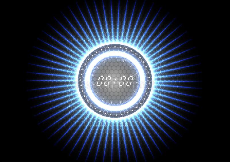 Interfaccia di orologio leggera blu della spruzzata moderna astratta tecnologica illustrazione vettoriale