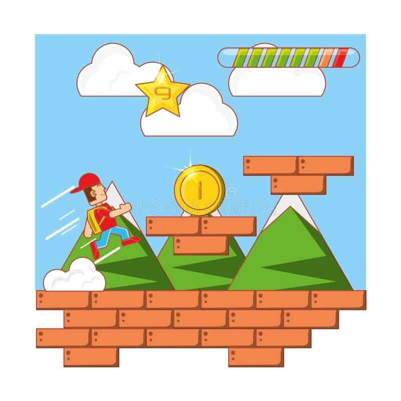 Interfaccia di scena del video gioco illustrazione di stock